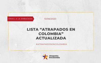 Lista «Atrapados en Colombia» actualizada