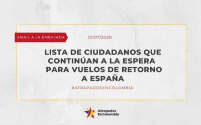 LISTA DE CIUDADANOS QUE CONTINÚAN A LA ESPERA PARA VUELOS DE RETORNO A ESPAÑA